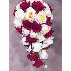 Cascading wedding bouquet Cascading Wedding Bouquets, Red Bouquet Wedding, Red Wedding, Floral Wreath, Wreaths, Rose, Flowers, Decor, Pink