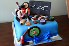 MAC cosmetics cake - This was for a sweet sixteen party.What a fun family to work with! Sweet 16 Birthday Cake, 16th Birthday, Birthday Cakes, Make You Up, Make It Yourself, Mac Cake, Makeup Themes, Party Makeup, Sweet Sixteen