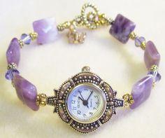 Beaded Watches, Jewelry Watches, Bead Jewellery, Jewlery, Bead Crafts, Jewelry Crafts, Creative Arts And Crafts, Cord Bracelets, Minne
