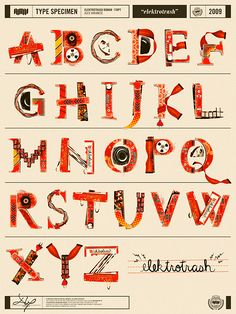 Elektrotrash: A Found Art Typeface by Alex Varanese, via Behance