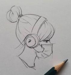 Girly Drawings, Sketchbook Drawings, Anime Drawings Sketches, Art Drawings Sketches Simple, Easy Drawings Of Girls, Simple Cartoon Drawings, Cool Simple Drawings, Easy Sketches To Draw, Pencil Sketches Of Girls
