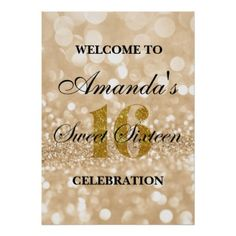 Sweet 16 Gold Glitter Lights Welcome Poster - birthday gifts party celebration custom gift ideas diy
