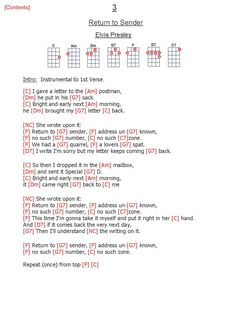 Return To Sender - Elvis Presley Easy Ukulele Songs, Guitar Chords For Songs, Music Chords, Guitar Chord Chart, Music Lyrics, My Music, 1 Verse, Words To Use, My Generation