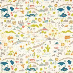 white birch organic fabric with USA Roadtrip travel design 3