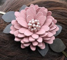 Mauve flower headband fascinator leather daisy green leaves beaded pearl center  woodland wedding bridal hairpiece prom wearable art on Etsy, $34.00