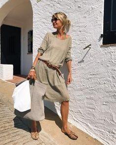 Solid Round Neckline Half Sleeve Knee-Length Shift Dress - Khaki / S Daytime Dresses, Casual Dresses, Casual Outfits, Fashion Dresses, Floryday Dresses, Work Dresses, Party Dresses, Dresses Online, Look Fashion