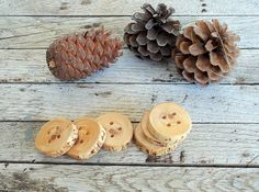 Handmade Wood Buttons  6 handmade red pine by forestinspiration, $8.00
