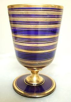 BACCARAT verre à Eau Vase - CRISTAL Bleu Cobalt DORE OR FIN ép. Napoleon III