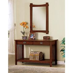 Furniture of America Contrera 2-Drawer Mission-Style Console Table