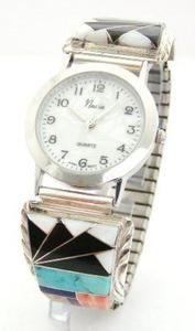 Men's Multi Color Inlay Sterling Watch Mother of Pearl Shell Face Native American Silver Jewelry