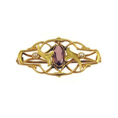Antique Brooch 10k Gold Art Nouveau Brooch Bar Pin with Green Gold Leaves and Amethyst
