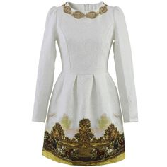 Chicwish  Scenic Print Jacquard Dress (€46) ❤ liked on Polyvore featuring dresses, white, print dress, back zipper dress, puff sleeve dress, sequin dress and white puff sleeve dress