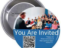 """JW.ORG custom nuevo pin botón - están invitados. Con código QR 2.25"""""""