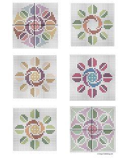 Biscornu Cross Stitch, Tiny Cross Stitch, Cross Stitch Cards, Cross Stitch Flowers, Cross Stitch Designs, Cross Stitching, Cross Patterns, Bead Loom Patterns, Counted Cross Stitch Patterns