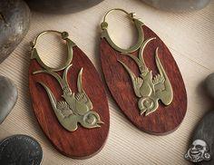 Brass and bloodwood love bird hoops