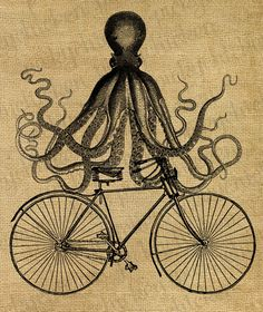 Octopus on a bike - vintage partly steampunk Victorian illustration - 8x10 digital downloadable printable image for burlap, fabric transfer, prints ... anything! $1.80, via Etsy