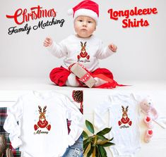 Christmas matching Family Long Sleeve Custom shirts Reindeer, Xmas family Matching pajama shirts from 6 Months Onesie up to Adults by Bachelorettees on Etsy Christmas Shirts, Family Christmas, Xmas, Matching Pajamas, Matching Shirts, Holiday Photos, Holiday Gifts, Pajama Shirt, Family Shirts