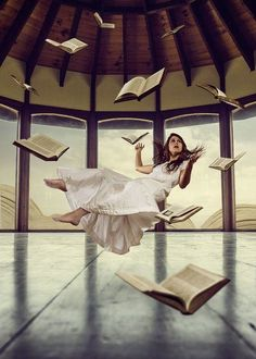 levitation with books and young girl Levitation Photography, Surrealism Photography, Fantasy Photography, Creative Photography, Instagram Inspiration, Double Exposition, World Of Books, Photo Manipulation, The Magicians