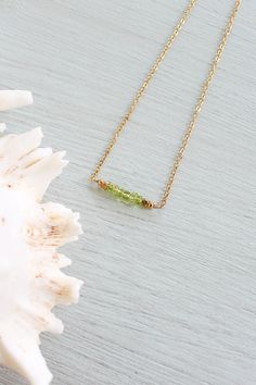 Peridot gemstone necklace - Faceted rondelle green peridot bead bar necklace - Peridot beaded bar necklace - August birthstone necklace