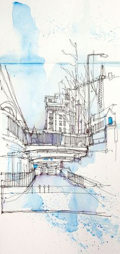Pen and Watercolour: The quick splatters of watercolour mirrors the fast pen work of this contour drawing. Watercolor Architecture, Architecture Sketchbook, Art Sketchbook, Sketch Painting, Drawing Sketches, Pen Sketch, Sketches Arquitectura, Contour Drawing, Building Sketch