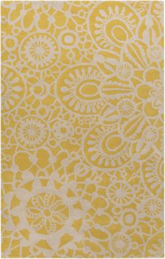 Floral Rug in Yellow