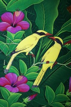 Handpainted Original Ubud Painting Signed Tropics Rainforest Yellow Bird Offered by CHOICE Patina Offered by rice on Bonanza Bali Painting, Forest Painting, Jungle Art, Indonesian Art, Vintage Botanical Prints, Typography Prints, Ubud, Bird Art, Beautiful Birds