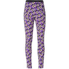 Emanuel Ungaro Star Print Leggings (11,500 INR) ❤ liked on Polyvore featuring pants, leggings, star pants, purple leggings, star print leggings, star print pants and emanuel ungaro pants