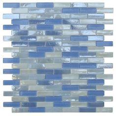 Opal Blue and White Glass Mosaic Tiles (Pack of (Victoria Falls Offset Brick Glass Mosaic Tile) Glass Tile Backsplash, Mosaic Wall Tiles, Kitchen Backsplash, Blue Glass Tile, Mosaic Glass, Online Tile Store, Best Floor Tiles, Mosaic Designs, Color Tile
