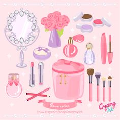 Cosmetics digital clip art featuring perfume, mirror, lipstick, eye shadow, eye liner, eye pencil, mascara and more. #clipart #vector #design See more at CreamyInk.etsy.com