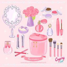 Cosmetics digital clip art featuring perfume, mirror, lipstick, eye shadow, eye liner, eye pencil, mascara and more. #clipart #vector #design See more at CreamyInk.etsy.com