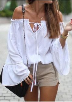Solid Splicing Slash Neck Blouse Without Necklace