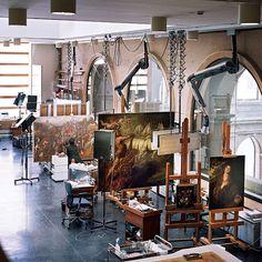 En el Museo del Prado. Salas de restauración.
