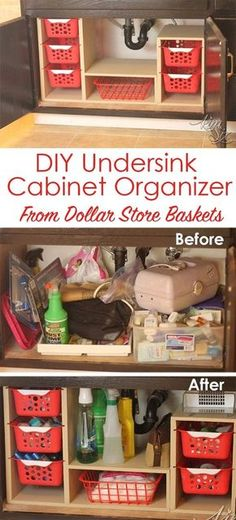 From a single sheet of plywood and some dollar store bins she built this fabulous organizer. What a great way to use all that awkward space under the sink! Undersink Cabinet Organizer with Pull Out Baskets. via TheKimSixFix.com by ora