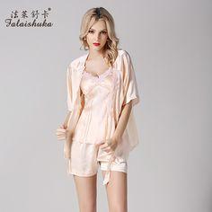 Women Pure Silk Pajamas Robe+Tops+Pants Pyjama Sets Three-Piece 100% Mulberry Silk Sleepwear Pijama Short-Sleeved Pajama S833