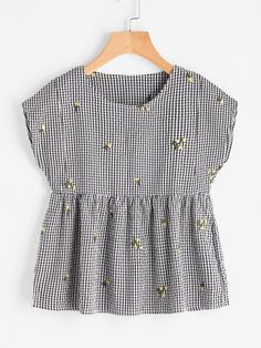 Embroidered Gingham Smock Top Only US$12.00