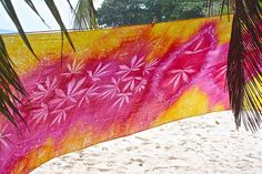 Handprinted Nature Embossed Beach Sarong Pareo by RootsSeychelles
