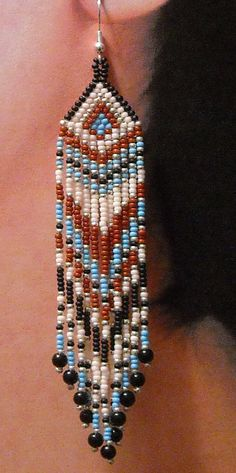 Native American Beaded Earrings Arrowhead Top Long by BlueTurtleSky     $37.00