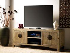 Meuble TV TRAPANO pas cher Bois d'orme 4 portes et 2 niches prix Meuble Tv Vente Unique 399.99 € TTC prix constaté 820 €