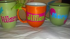 Personalized Mugs $5/ea www.facebook.com/TheFunkyDot    www.etsy.com/shop/FunkyDot