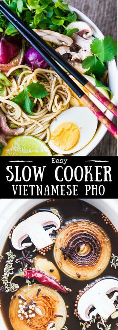 Slow Cooker Pho ~ this slurp-able Vietnamese noodle soup is world famous for its richly flavored broth that simmers all-day. With my easy crock pot recipe you can enjoy pho any night of the week! #soup #noodlesoup #chickennoodlesoup #bestnoodlebowl #noodlebowl #Vietnamese #easypho #bestpho #soup #slowcooker #crockpot #beefsoup #beef #steak #healthy
