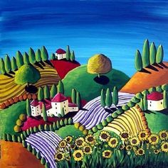 Items similar to Tuscan Landscape Sunflowers Whimsical Colorful Folk Art Giclee Print on Etsy Art Beauté, Arte Popular, Naive Art, Whimsical Art, Landscape Art, Landscape Quilts, Oeuvre D'art, Art Lessons, Home Art
