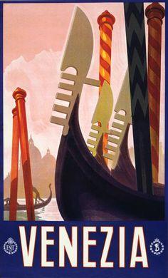 Venice. Vintage travel poster.