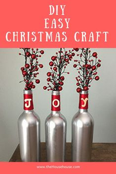 See how I made this super simple Christmas craft using old wine bottles.  Easiest DIY Project Ever and they look great. Christmas Hacks, Easy Christmas Crafts, Simple Christmas, Handmade Christmas, Christmas Decorations, Christmas Stuff, Holiday Decor, Decor Crafts, Home Decor