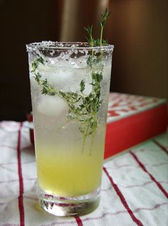 sugar 3 lemon wedges Ice 1/4 cup Lemon-Thyme Syrup* 1 ounce vodka ...