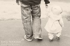 Baby girl walking with Daddy, family portrait session lifestyle photography