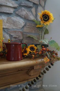 Have a Daily Cup of Mrs. Olson-primitive fall mantle