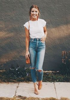 spring and summer style; white tshirt and denim