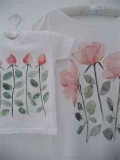 Organic cotton t-shirts for mothers and daughters hand painted, digitally printed budsroses.com #pink, #roses