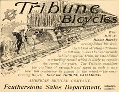 1900-09 1900 D Tribune Bicycle American Bicycle Co Cyclist Chasing Train Print Ad