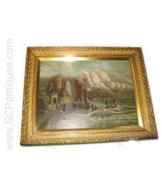 Antique European Castle Scene Oil Painting c.1890